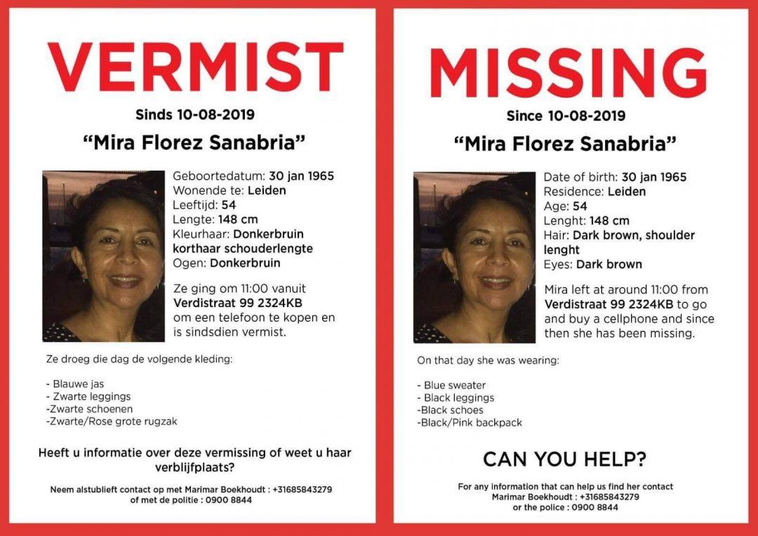 De dochter van Mira heeft zelf maar een opsporingsposter gemaakt. De politie vindt de zaak niet urgent.